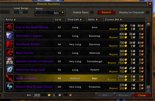 World of Warcraft Dragonmaw - Blade of Hanna for 2,500 gold!