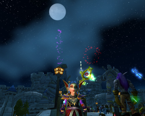 Moonshade Pochi at Stormwind for New Year's Fireworks